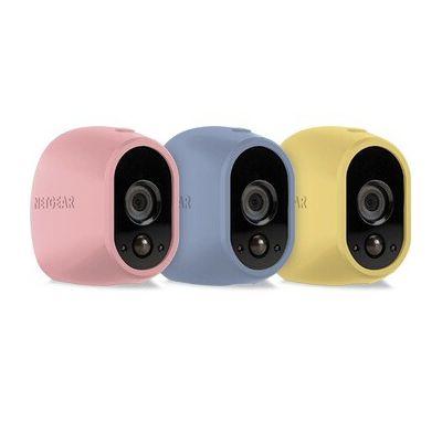 image Accessoire Arlo - Pack de 3 Housses, Accessoire pour Caméra Arlo, Pastelle/Rose/Jaune/Bleu (VMA1200C)