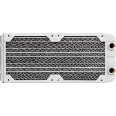 image Corsair Hydro X Series, XR5 Radiateur de 240 mm (Doubles Fixations Ventilateur de 120 mm, Installation Facile, Construction en Cuivre Premium, Guides de Vis de Ventilateur Inclus) Blanc