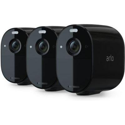 image Arlo Essential Black - Pack de 3 Caméras de surveillance Wifi Sans fils. Jour/Nuit, Etanche IP65, Intérieur/Extérieur, Batterie 6 mois (VMC2330B)