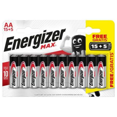 image Piles Alcalines Energizer Max AA/LR6, pack de 15+5
