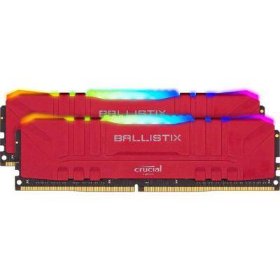 image Crucial Ballistix BL2K8G32C16U4RL RGB, 3200 MHz, DDR4, DRAM, Mémoire Kit pour PC de Gamer, 16Go (8Go x2), CL16, Rouge