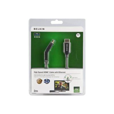 image Belkin - Câble HDMI M/M avec connecteurs pivotants, prise en charge Ethernet et connecteurs plaqués or - 2m - Noir
