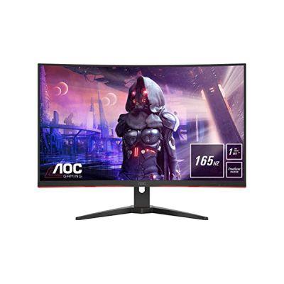 image Ecran AOC Gaming incurvé C32G2AE 31,5 pouces (HDMI, DisplayPort, Temps de réponse 1 ms, 1920 x 1080 Pixels, 165 Hertz, FreeSync Premium) Noir/Rouge