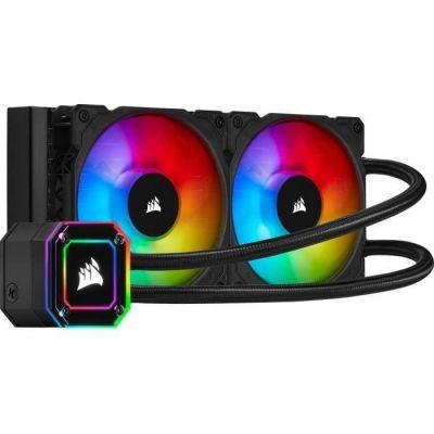 image Corsair iCUE H100i ELITE CAPELLIX Watercooling pour processeur (33 LED CAPELLIX RGB Ultra Lumineuses, Deux Ventilateurs PWM ML RGB de 120 mm, 400 à 2 400 TR/min, iCUE Commander CORE inclus) Noir