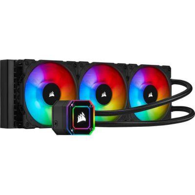 image Corsair iCUE H150i ELITE CAPELLIX Watercooling pour processeur (33 LED CAPELLIX RGB Ultra Lumineuses, Trois Ventilateurs PWM ML RGB de 120 mm, 400 à 2 400 TR/min, iCUE Commander CORE inclus) Noir