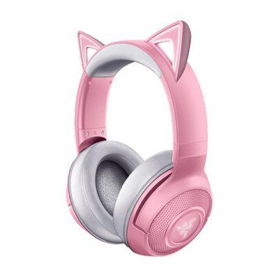 image Razer Kraken Bluetooth Kitty - Casque de jeu sans fil (Le casque sans fil à oreilles de chat avec éclairage Chroma RGB, microphone à formation de faisceau, haut-parleur de 40 mm) Rose / Quartz