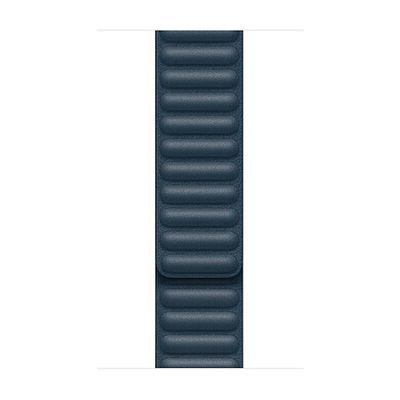 image Apple Watch Bracelet à maillons Cuir Bleu Baltique (44mm) - Small