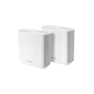image ASUS ZenWiFi XT8 Blanc - Pack de 2 - Système Wi-FI 6 AX Mesh, Tri-Bande, 6600 Mbit/s, 500m2, AiProtection avec TrendMicro à vie, Port WAN/LAN 2,5 Gigabit + 3 Ports LAN Gigabit, AiMesh