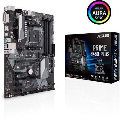 image ASUS PRIME B450-Plus – Carte mère AMD AM4 au format ATX avec connecteur RGB Aura Sync, DDR4 3 200 MHz, M.2, HDMI 2.0b, SATA 6 Gb/s et USB 3.1 Gen 2