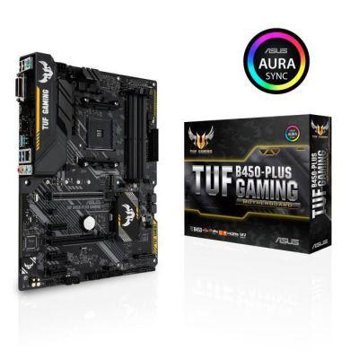 image ASUS TUF B450-PLUS GAMING – Carte mère gaming AMD B450 au format ATX avec DDR4 4400MHz, M.2 32 Gb/s, HDMI 2.0b, USB 3.1 Gen 2 Type-C & natif et éclairage LED Aura Sync RGB