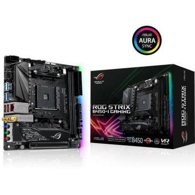 image ASUS ROG STRIX B450-I GAMING carte mère Emplacement AM4 Mini ITX AMD B450 - Cartes mères (AMD, Emplacement AM4, AMD Ryzen, DDR4-SDRAM, DIMM, 2133,2400,2666,2800,2933,3000,3200,3400,3466,3600 MHz)