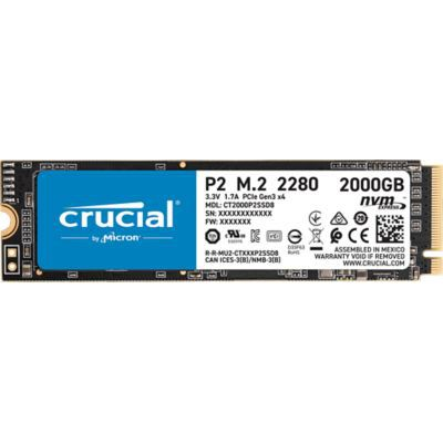 image Crucial P2 CT2000P2SSD8 SSD Interne 2To, Vitesses atteignant 2400 Mo/s (3D NAND, NVMe, PCIe, M.2)