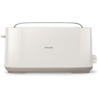 image Philips HD2590/00 Grille Pains Daily Blanc, 1 Fente Extra Longue, Bouton Réchauffage