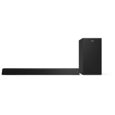 image Philips Audio TAB7305/10 Barre de Son TV Bluetooth avec Caisson de Basse sans Fil (2.1 Canaux, 300 W, Dolby Audio, HDMI Arc, Design Géométrique avec Support de Fixation Murale) - Modèle 2020/2021