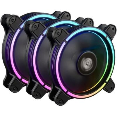 image ENERMAX Ventilateurs 120mm RGB LED Adressable, ultra silencieux Haut de gamme T.B.RGB Ad. (UCTBRGBA12P-BP3) Pack de 3 unités, Pale Détachable, technologie anti-poussière