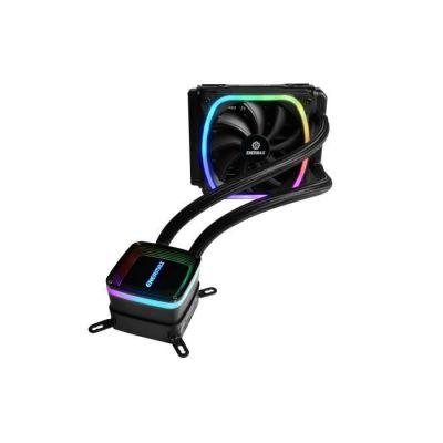 image Enermax AquaFusion 120 Noir, AIO Cooler, Watercooling pour processeurs Intel/AMD, Refroidissement Liquide avec ventilateur SquA RGB adressable Aurabelt, Central Coolant Inlet, Waterblock bicamériste