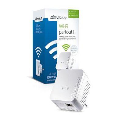 image Devolo dLAN 550 WiFi CPL (Connexion Internet 500 Mbit/s via la Prise de Courant, 300 Mbit/s via le Réseau WiFi, 1 Port Ethernet, 1 Adaptateur CPL, Amplificateur WiFi, WiFi Booster, WiFi Move)