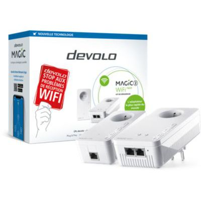 image devolo Magic 2 WiFi next : Starter Kit CPL WiFi le plus rapide du monde (2400 Mbits/s, 3 ports Ethernet Gigabit) idéal télétravail et streaming
