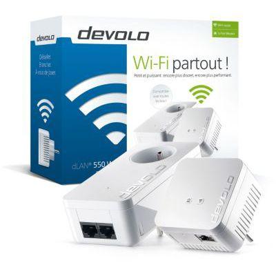 image Devolo dLAN 550 WiFi, Prise Réseau CPL WiFi (500 Mbit/s via CPL, 2x Adaptateurs, 1x Port Fast Ethernet, Amplificateur WiFi, augmenter Portée WiFi, Courant Porteur, WiFi Move) - Kit de Démarrage