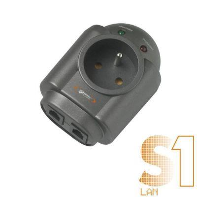 image Infosec Parasurtenseur 1 Prise FR + 2 RJ45 - Garantie 2 Ans -