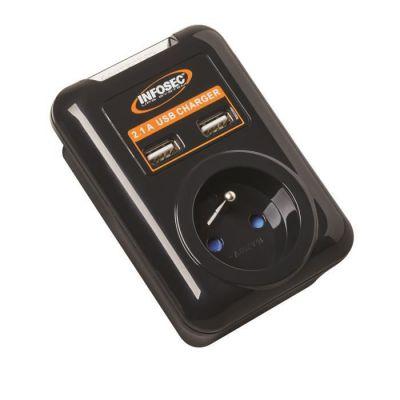 image Prise parafoudre Infosec S1 USB NEO avec parasurtenseur (1 Prise +  2 ports USB)