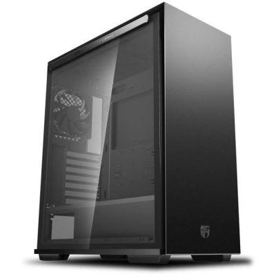 image DeepCool Macube 310P Black Case ATX Ordinateur de Bureau Gaming 0,8 mm SPCC 2 x USB3.0 Ventilateur de 120 mm Black Top Mesh Panneau latéral en Verre trempé magnétique (H x P x L : 495 x 425 x 215 mm)