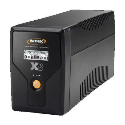 image Infosec X3 EX Onduleur 650 VA 2 Prises Schuko-FR RJ11-45 LCD USB Noir
