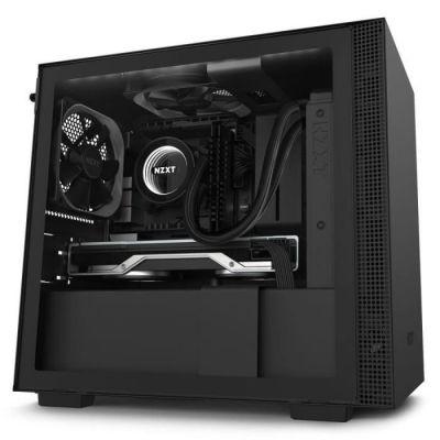 image NZXT H210i - Boîtier PC Gaming Mini-ITX - Port I/O USB Type-C en Façade - Panneau Latéral en Verre Trempé - Compatible Refroidissement Liquide - Éclairage RGB Intégré - Noir