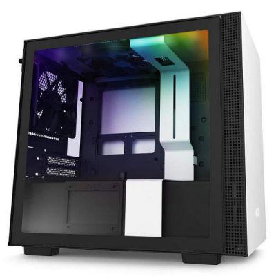 image NZXT H210i - Boîtier PC Gaming Mini-ITX - Port I/O USB Type-C en Façade - Panneau Latéral en Verre Trempé - Compatible Refroidissement Liquide - Éclairage RGB Intégré- Noir/Blanc