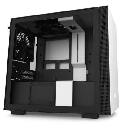 image NZXT H210 - Boîtier PC Gaming Mini-ITX - Port I/O USB Type-C en Façade - Panneau Latéral en Verre Trempé -- Compatible Refroidissement Liquide - Support pour Radiateur - Noir/Blanc