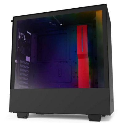 image NZXT H510i - Boîtier PC Gaming ATX Moyenne Tour Compact - Port I/O USB Type-C en Façade - Montage Vertical du Processeur Graphique ( GPU ) - Panneau Latéral en Verre Trempé - Noir/Rouge