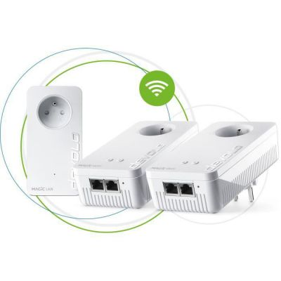 image devolo Magic 2 WiFi next : Kit CPL WiFi Multiroom le plus rapide du monde (2400 Mbits/s, 5 ports Ethernet Gigabit) idéal télétravail et streaming