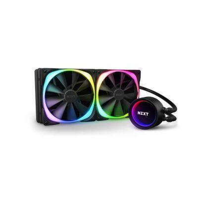 image NZXT Kraken X63 RGB 280 mm - RL-KRX63-R1 - Refroidisseur de liquide pour processeur AIO RGB - Pompe améliorée - Connecteur RGB - Ventilateurs de radiateur Aer RGB V2 140 mm (2 inclus)