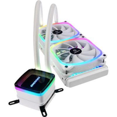 image Enermax AquaFusion 240 White, AIO Liquid Cooler, Watercooling pour processeurs Intel/AMD, Refroidisseur avec 2 ventilateurs SquA RGB adressables Aurabelt, Central Coolant Inlet, Waterblock bicamériste