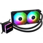 image produit Enermax LiqMax III ARGB 240 Noir, AIO Liquid Cooler, Watercooling pour processeurs Intel/AMD, Refroidissement Liquide, Waterblock bi-camériste Aurabelt RGB adressable, ventilateurs RGB Pales Convexes