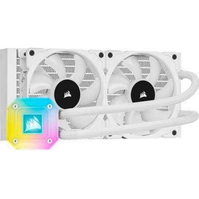 image Corsair iCUE H100i ELITE CAPELLIX Watercooling pour Processeur (Pompe RGB Hautes Performances, Éclairée par 33 LED CAPELLIX RGB, Deux Ventilateurs PWM ML RGB 120 mm, iCUE Commander CORE inclus) Blanc