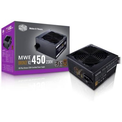 image Cooler Master MWE 450 Bronze 230V V2 - Bloc d'alimentation, 80 PLUS Bronze, ventilateur HDB sensible à la température, circuit DC-DC + LLC avec rail simple + 12V - Garantie 5 ans