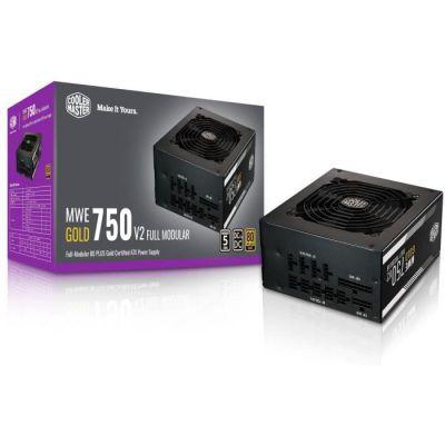 image Cooler Master MWE 750 Gold V2, Alimentation PC modulaire (Prise EU), 80 Plus Gold, 750W, câblage Plat, Ventilateur 120mm HDB, seuil de température 50˚C - Garantie 5 Ans