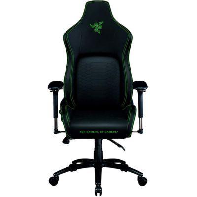 image Razer Iskur - Chaise de jeu haut de gamme avec support lombaire intégré (chaise de bureau, cuir synthétique multicouche, rembourrage en mousse, coussin de tête, réglable en hauteur) noir - vert