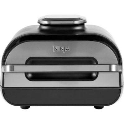image Ninja Grill & friteuse à air Foodi Max [AG551EU] avec sonde de Cuisson numérique Grill & Air Fryer, Non-Stick Ceramic Coated, 3,8 litres, Gris/Argent