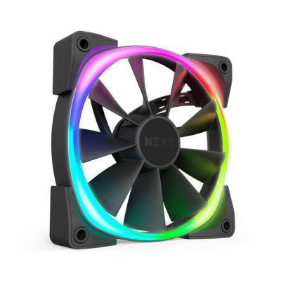 image NZXT AER RGB 2 - 120mm - Personnalisations avancées de l'éclairage - Pointes d'ailettes - Palier hydrodynamique - Ventilateur PWM RGB LED pour Hue 2 - Simple (contrôleur d'éclairage HUE2 non inclus)