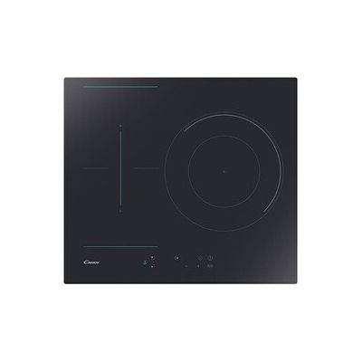 image Candy CTP634B3/4U – Plaque à induction, zone flex et poêle à paella à double couronne, 3 façades, 9 niveaux de puissance, minuteur, sérigraphie bleu, 7,1 kW, noir
