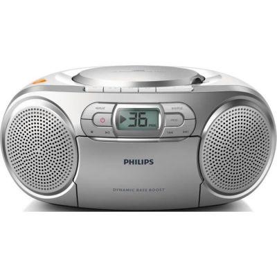 image Philips AZ127/12 Lecteur CD Portable,CD Player Portable (Amplification Dynamique des Basses, Radio FM,Platine Cassette,Entrée Audio) Argent
