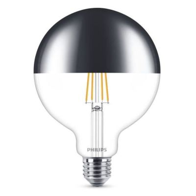 image Philips ampoule LED Globe Filament Calotte Argentée E27 8W Equivalent 50W Claire Blanc chaud Compatible Variateur