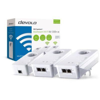 image devolo8311 dLAN 1200+ WiFi ac Multiroom Kit, Prise Réseau CPL Wi-Fi (1200 Mbit/s, 3x Adaptateurs/4x Ports Gigabit/Amplificateur WiFi/Courant Porteur/Prise Filtrée Intégrée/Access Point/Wifi Clone)
