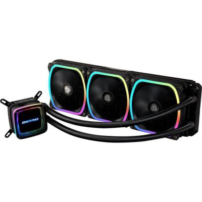 image Enermax AquaFusion 360, AIO Liquid Cooler, Watercooling pour processeurs Intel/AMD, Refroidissement Liquide avec 3 ventilateurs SquA RGB adressables Aurabelt, Central Coolant Inlet, Waterblock bi Noir