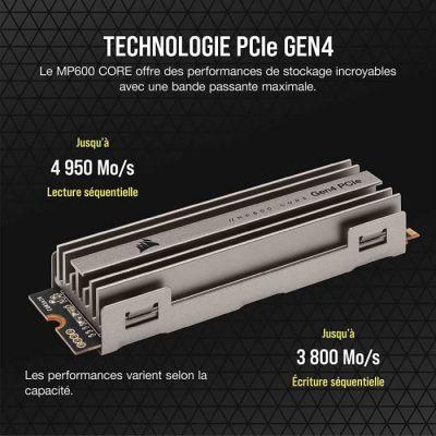 image Corsair MP600 CORE 2 To M.2 NVMe PCIe x4 Gen4 Disque SSD (Jusqu'à 4 950 Mo/s de lecture Séquentielle et 3 700 Mo/s d'écriture Séquentiellet, Interface Haut Débit, NAND QLC 3D) Aluminium