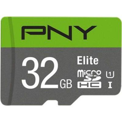 image PNY Elite Carte Mémoire microSDHC 32 Go + Adaptateur SD, Vitesse de lecture 100 Mo/s, Classe 10 UHS-I, U1 pour vidéo Full HD