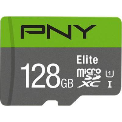 image PNY Elite Carte Mémoire microSDXC 128 Go + Adaptateur SD, Vitesse de lecture 100 Mo/s, Classe 10 UHS-I, U1 pour vidéo Full HD