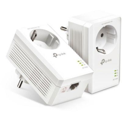 image TP-Link CPL 1000Mbps, Prise CPL Fibre avec 1 Port Gigabit et Prise Intégrée, Boitier CPL Kit de 2 - idéale pour Profiter du Service Multi-TV à la Maison TL-PA7017P KIT(FR)